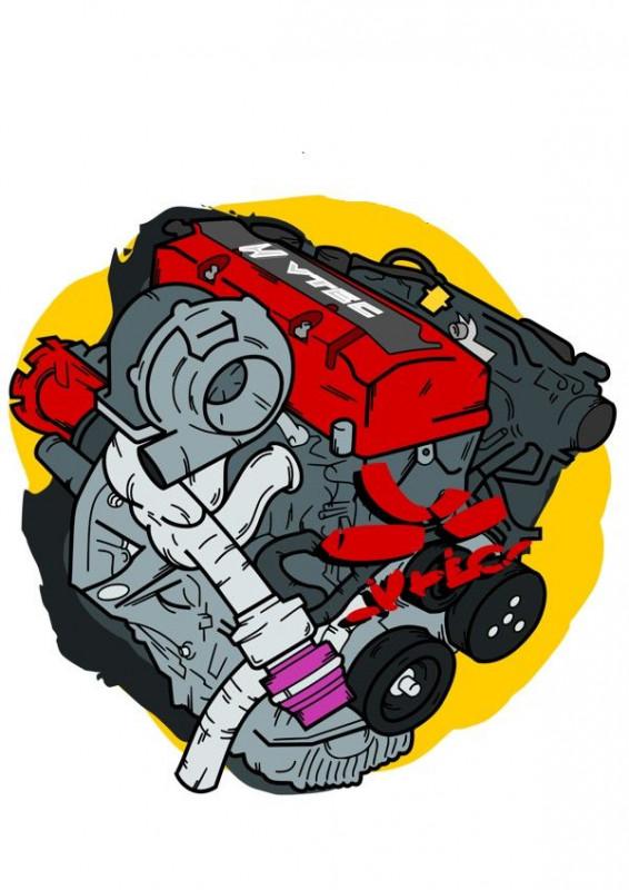 Imagens Autocolante Impresso - Motor Vtec