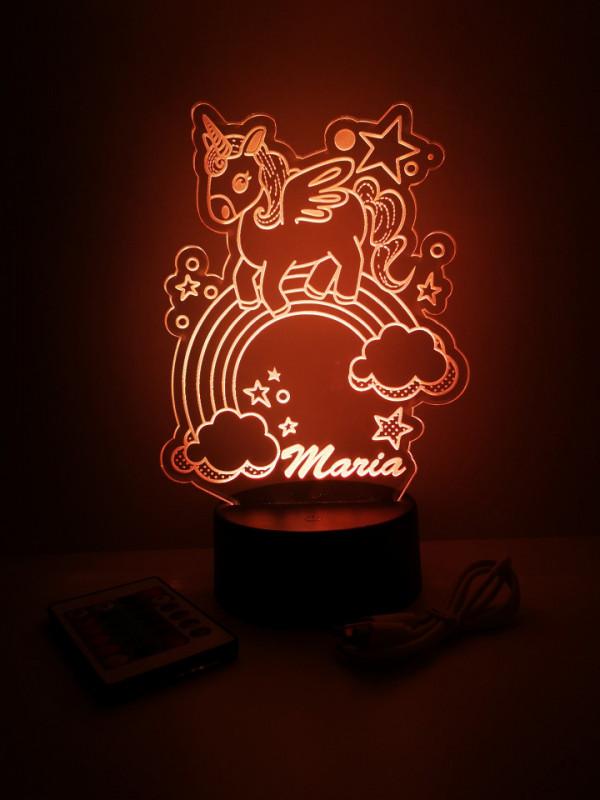 Moldura / Candeeiro com luz de presença - Unicórnio - Com nome