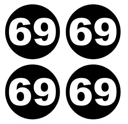 4 Autocolantes Para Centros de Jantes com 69