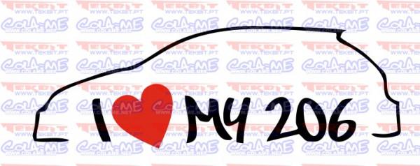 Autocolante - I love my 206