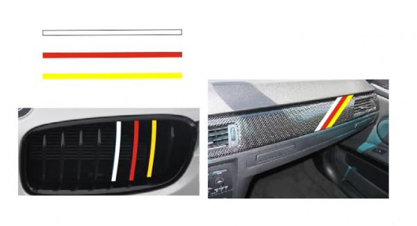 Imagens Autocolantes - Faixas BMW (branco, vermelho, amarelo) 1x20cm