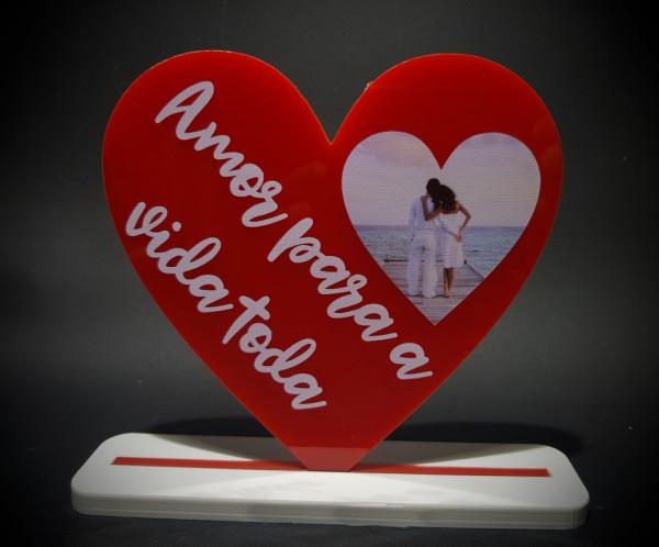 Coração em acrílico - Amor para a vida toda - Personalizado com foto (coração)