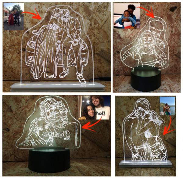 Moldura / Candeeiro com luz de presença Com Foto Convertida Para Linhas + OFERTA