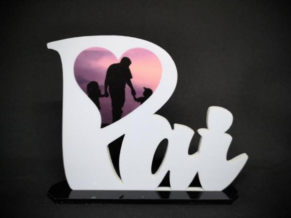 Palavra Pai em acrílico - Com foto personalizada