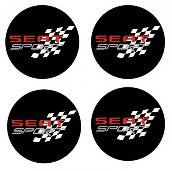 4 Autocolantes Para Centros de Jantes com Seat Sport