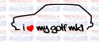 Imagens Autocolante - I Love My Golf mk1