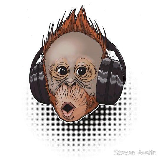 Imagens Autocolante Impresso - Macaco Fones