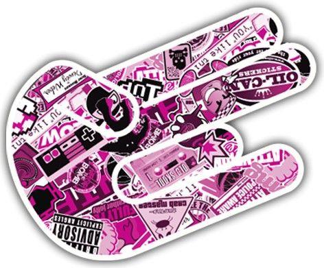 Imagens Autocolante Impresso - Shocker-  Mão JDM Bomb Sticker Rosa