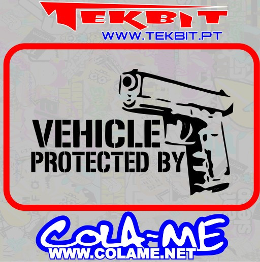 Autocolante - Vehicle Protected by a Gun
