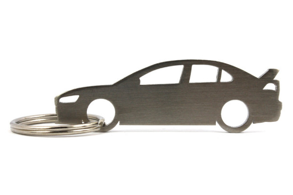 Porta Chaves em inox com silhueta com Mitsubishi EVO X
