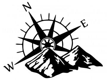 Autocolante com Rosa dos ventos montanha