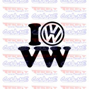 Autocolante - I Love VW