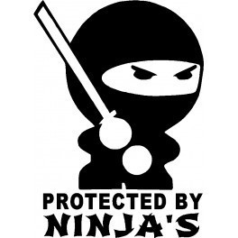 Autocolante - Protected By Ninjas