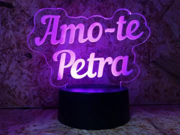 """Moldura / Candeeiro com luz de presença - Amo-te """"Nome"""""""