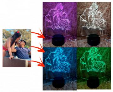 Moldura / Candeeiro com luz de presença Com Foto Convertida Para Linhas