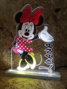 Moldura / Candeeiro com luz de presença - Minnie Com nome