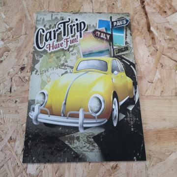 Placa Decorativa em PVC - Vw Carocha Car Trip