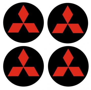 4 Autocolantes Para Centros de Jantes com Mitsubishi