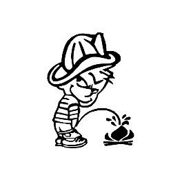 Autocolante - Calvin Bombeiro Mijão - Calvin e Hobbes