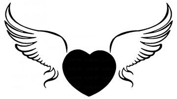 Autocolante - Coração com Asas