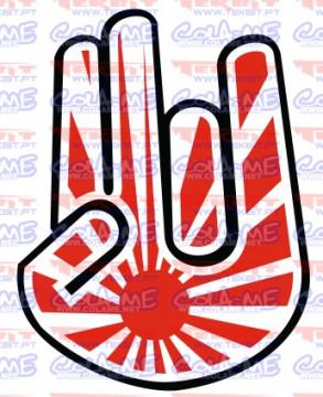 Autocolante Impresso - Mão bandeira japão