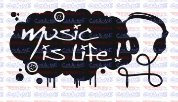 Autocolante Música - Music is life