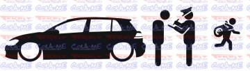 Autocolante - Policia e ladrões - VW Golf 7
