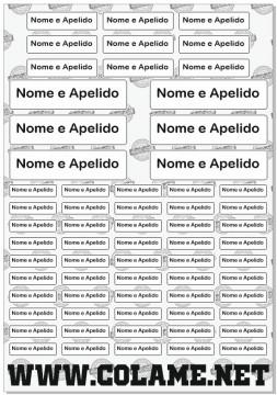 Folha / Pack de Autocolantes - Etiquetas com nomes