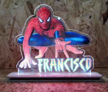 Moldura / Candeeiro com luz de presença - Homem Aranha - Com nome
