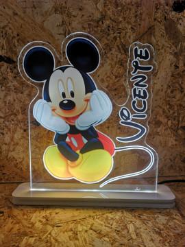 Moldura / Candeeiro com luz de presença - Mickey Com nome