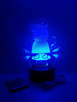Moldura / Candeeiro com luz de presença - Peppa - Com nome