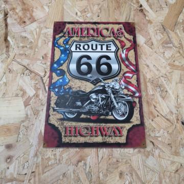 Placa Decorativa em PVC - Route 66 Americas Highway
