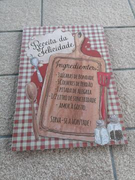 Placa MDF decorativa - Receita da felicidade