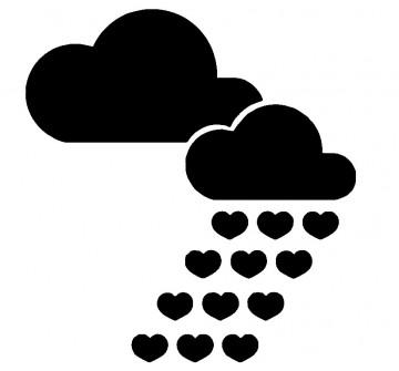 Autocolante - Chuva de Corações