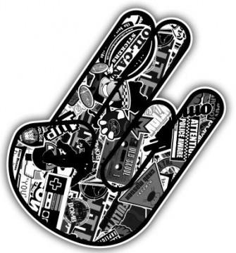Autocolante Impresso -Shocker-  Mão JDM Bomb Sticker Preto e Branco