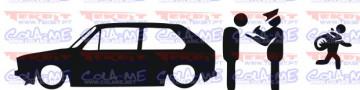 Autocolante - Policia e ladrões - VW Golf 1