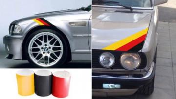 Autocolantes - Faixas BMW (preto, vermelho, amarelo) 55x5cm