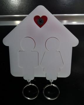 Chaveiro em Acrílico com 2 porta-chaves casal
