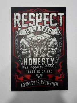 Placa Decorativa em PVC - Respect is earned honesty is appreciated