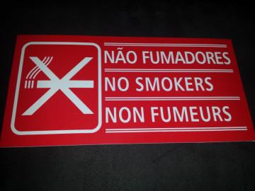 Placa PVC - Não fumadores / No Smokers / Non Fumeurs