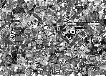 Sticker Bomb - Tekbit / Cola-me - Preto e Branco