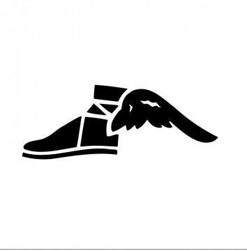 Autocolante com Sapato com asas