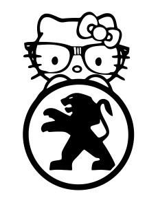 Autocolante - Hello Kitty Peugeot