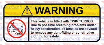 Autocolante Impresso - Warning - Twin Turbos