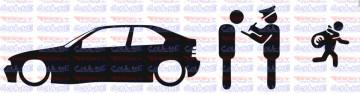 Autocolante - Policia e ladrões - BMW E36 Compact