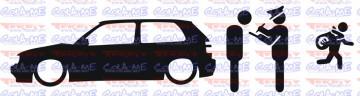 Autocolante - Policia e ladrões - VW golf III