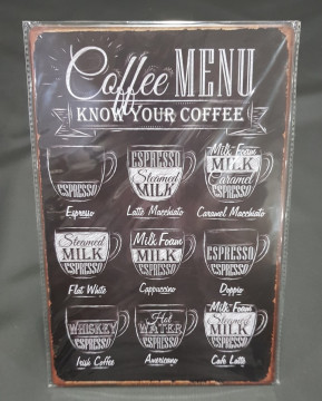 Chapa decorativa com Caffee Menu