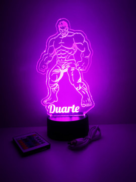 Moldura / Candeeiro com luz de presença - Hulk - Com nome