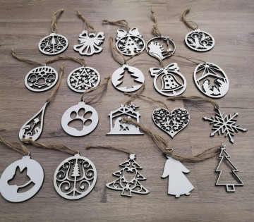 Pack de 20 ornamentos para árvore de Natal- MDF