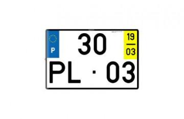 Placa de Matrícula 34x22cm em Acrílico - Com ano e mês